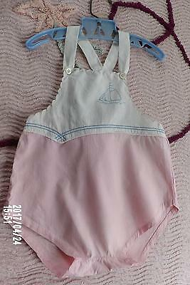 SWEET HAND MADE INFANT BABY BOYS VTG 40s 50s ROMPER SAILBOAT EMBROIDERY 12 18 MO