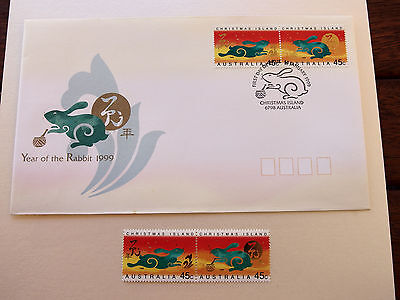 1999  Christmas Island Year of the Rabbit  2 x 45c MNH stamps + FDC