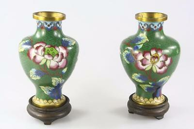 Vintage Chinese Pair Of Small Green Cloisonne Enamel Vase With Stands