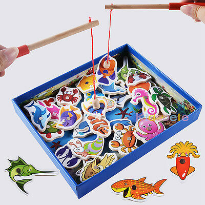 32x Baby Educational Toy Fish Wooden Magnetic Fishing Toys Game Kids Baby Tackle