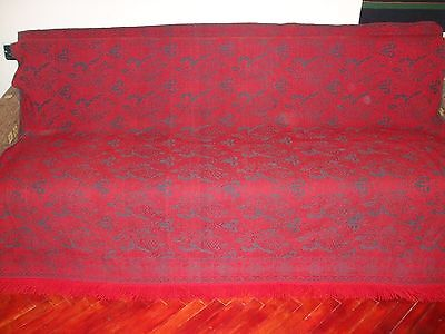ON SALE 1930s Antique Early Loom Woven 100% Wool Coverlet