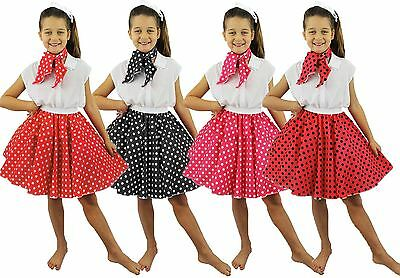 Girls Polka Dot Skirt Kids Rock And Roll Poodle Skirt 1950S Party Fancy Dress