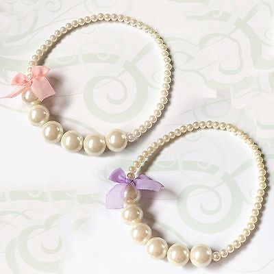 Princess Girls Imitation Pearls Necklace Baby Toddler Children Party Jewelry