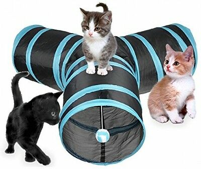 AINOLWAY Cat Tunnel Collapsible 3 Way Play Toy With Ball For Cat, Puppy, Rabbit