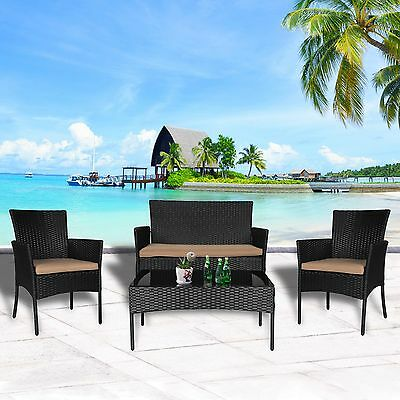 4 PC Wicker Rattan Patio Conversation Sectional Set Cushioned With Glass Table