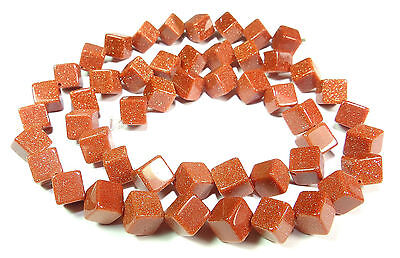 Goldstone 6 mm Cube (Corner drilled) Pearl Strand GOFL-3