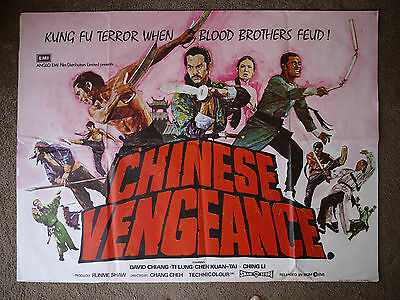 CHINESE VENGEANCE British Quad film poster KUNG FU folded MIKE VAUGHAN artwork