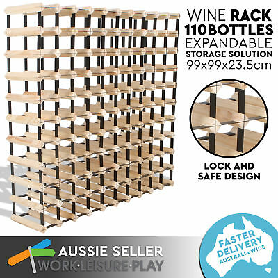 Set of 2 110 Bottle Wooden Metal Wine Rack Natural Wood Colour Cellar Organiser
