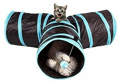 Cat Tunnel, WonderforU Collapsible 3 Way Pet Toy Tunnel With Dangling Ball For
