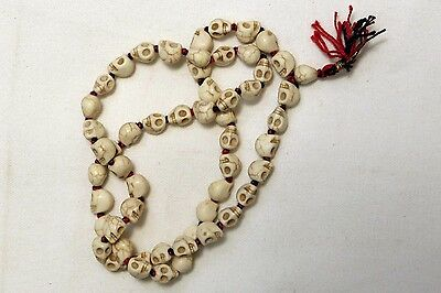 Goddess Kali Mund Mala Skeleton Bead White Color Mala (32cm Drop)