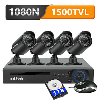 Zcleve 720P 8CH CCTV Security Camera System with 1TB Hard Drive 4 Ourdoor Camera