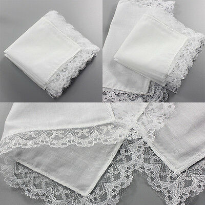 Cotton Soft Hankie Pocket Hanky Lace Border Handkerchief 1/5Pcs