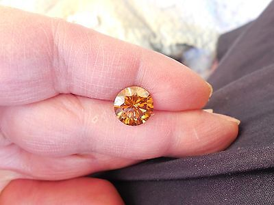 4.06 CT VS1 10.70 mm Fiery Champagne Color Round Loose Moissanite