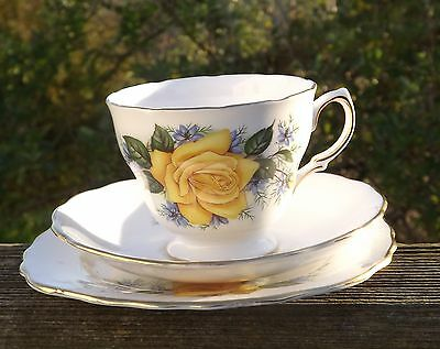 Vintage Royal Malvern English Bone China Trio Cup Saucer Plate Yellow Rose