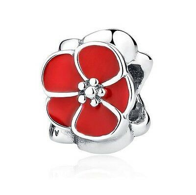 S925 Silver EUROPEAN Flower Poppy Red Enamel Charm & a Pandora Cloth