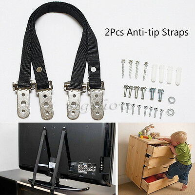 2Pcs Anti-tip TV Furniture Positioning Straps Anchor Baby/Child Safety Proofing