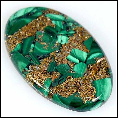 COPPER MALACHITE CABOCHON 37.83Cts SUPERB PATTERN OVAL LOOSE GEMSTONES 23-G