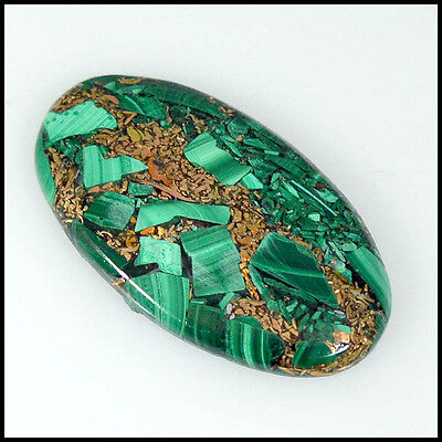 COPPER MALACHITE CABOCHON 33.15Cts NATURAL QUALITY OVAL LOOSE GEMSTONES 24-I