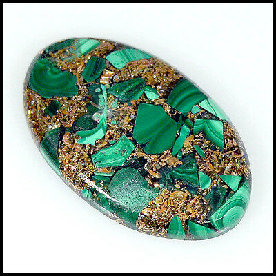 COPPER MALACHITE CABOCHON 31.71Cts AMAZING QUALITY OVAL LOOSE GEMSTONES 24-G