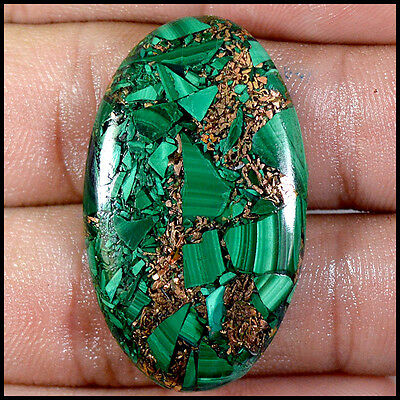 GREEN MALACHITE CABOCHON 34.48Cts NATURAL OVAL LOOSE GEMSTONES 22-G