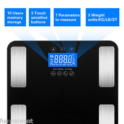 Excelvan LCD BMI Scale Tempered Glass Touch 400 LB Digital Smart Body Fat Weight