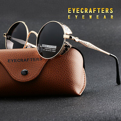 2017 Polarized Vintage Steampunk Sunglasses Retro Fashion Round Mirrored Pop UK
