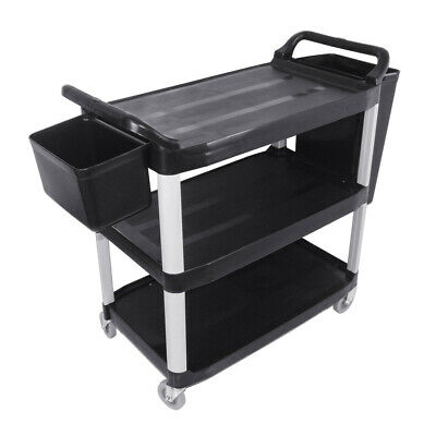 SOGA 3 Tier Food Trolley Food Waste Cart With Two Bin Food Utility Kitchen Large