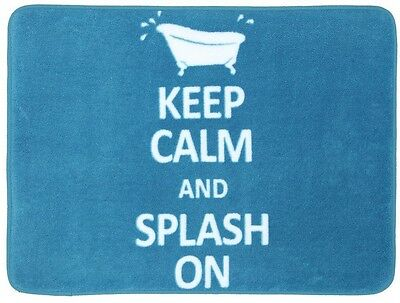 Mohawk Home Keep Calm And Splash On Teal 17 In x 24 In Bath Rug Polyester Latex