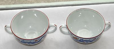 Early 20th Century Minton Dragon and Bird Pair Twin Handled Chocolate Cups.
