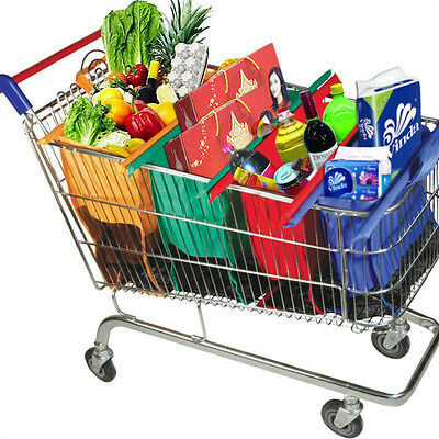 4 Foldable Reusable Grocery Shopping Cart Trolley Bags Easy to Use & Heavy Duty