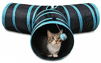 Comsmart Collapsible Crinkle Cat Tunnel Tubes Toys 3 Way Fun Run Play Tunnels