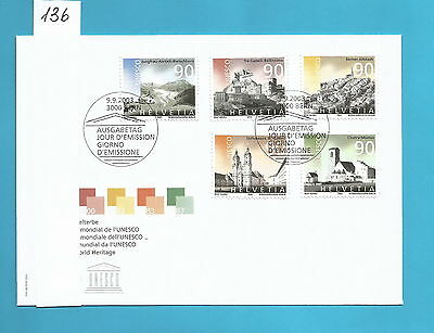K136 FDC First Day Cover Switzerland 2003 UNESCO