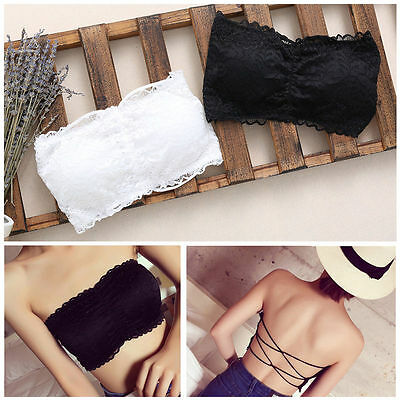 Women Lady Girl Lace Strapless Bra Top Tube Vest Chest Wrap BACKLESS Underwear