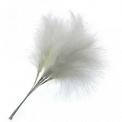 Fluffy White Feathers x 6 Wedding Fascinator Bouquet Embellishment