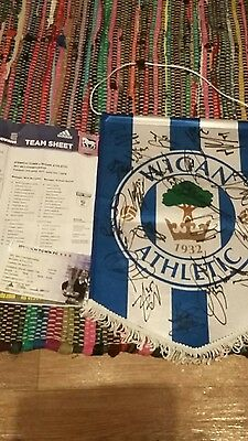 Wigan Athletic 20162017 squad, coach, manager signed pennant team sheet ticket