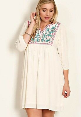 WHITE PLUS SIZE Women Embroidered Loose Short Casual MINI DRESS 1X 2X 3X 4X NEW