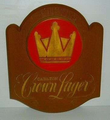 Carlton Crown Lager Beer 3D Wall sign plastic for home bar or collector Rare