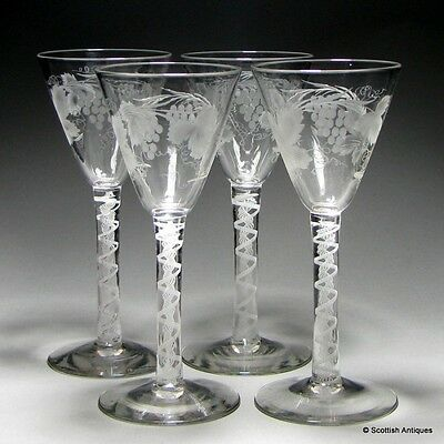 Set of Four Engraved Opaque Twist Red Wine Glasses