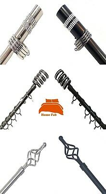 Diamante 16-19mm Telescopic Extendable Metal Curtain Pole Set In Black or Silver