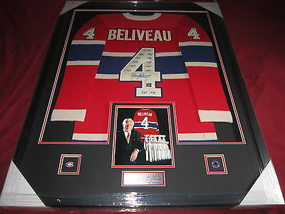 Jean Beliveau 10 Cups Framed Auto Montreal Canadiens Habs  Signed Auto Jersey