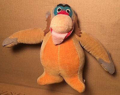 Vtg King Louie Gund Jungle Book Animal Orangutan Velvet RARE Walt Disney 1966