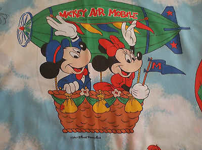 Vintage Disney Mickey Mouse Air Mobile Flat Twin Sheet Dumbo, Minnie, Goofy, Etc