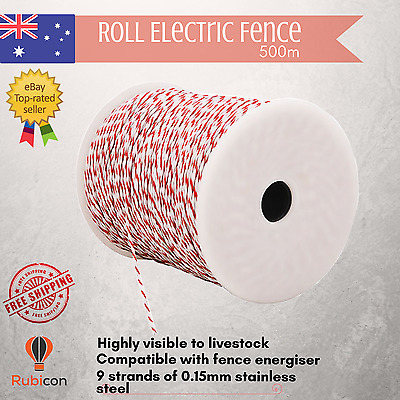 POLY WIRE 500m Roll Electric Fence Energiser UV-Stabiised
