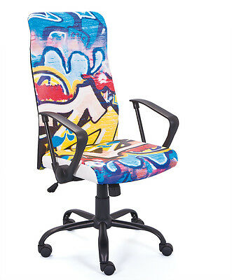 Tyke  Office Chair C / Wheels, Height Adjustable. Metal, Seat In Leather Fantasy