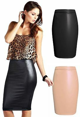 Ladies Womens Wet Look Leather Stretchy Pencil Bodycon Skirt Midi Party Dress