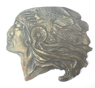 Indian Head Belt Buckle Style Plaque Display Vintage American Retro Classic