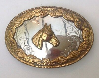 Horse Head  Belt Buckle German Silver Vintage American Retro Classic