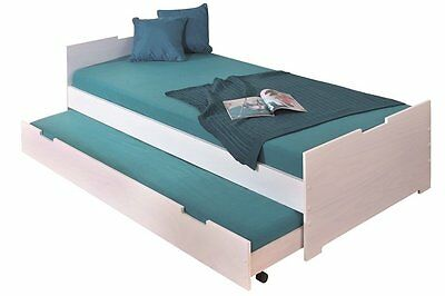 Martin 90X200Bed.203,5X96X61,5H.solid Pine And Mdf White And Pinklacquered
