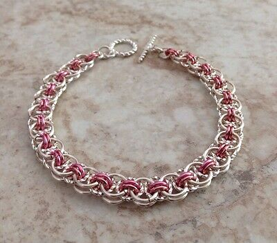 Chainmail Bracelet - Handmade Celtic Line Twist - Silver & Rose Gold