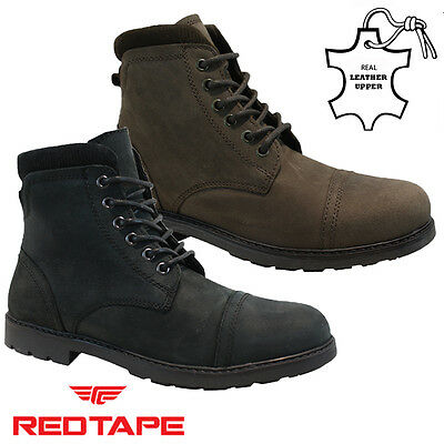 Mens Red Tape Leather Military Biker Chukka Desert Combat Ankle Boots Shoes Size